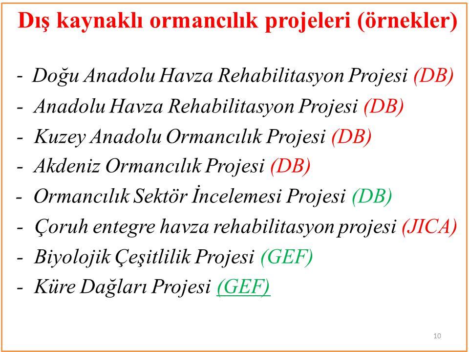 Dış kaynaklı ormancılık projeleri (örnekler)