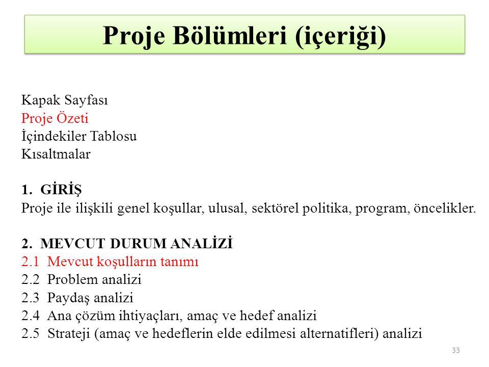 Proje Bölümleri (içeriği)