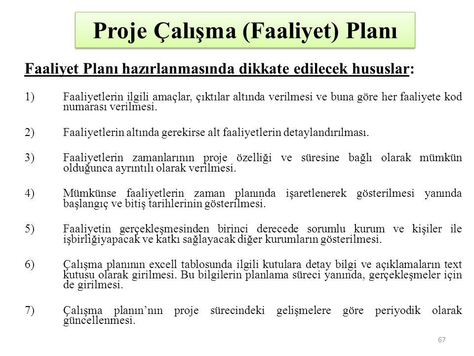 Proje Çalışma (Faaliyet) Planı
