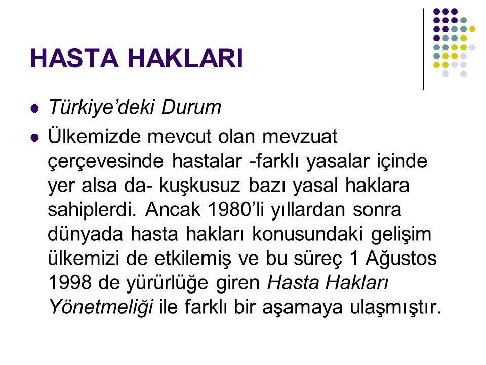HASTA HAKLARI Türkiye'deki Durum