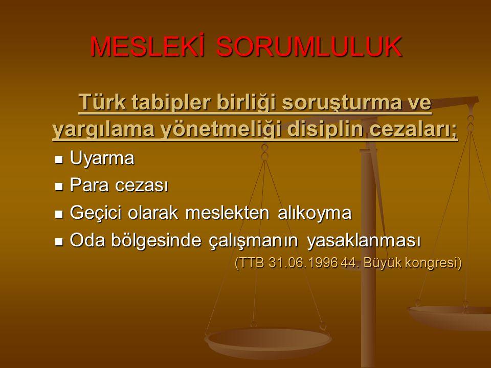 MESLEKİ SORUMLULUK Türk tabipler birliği soruşturma ve yargılama yönetmeliği disiplin cezaları; Uyarma.