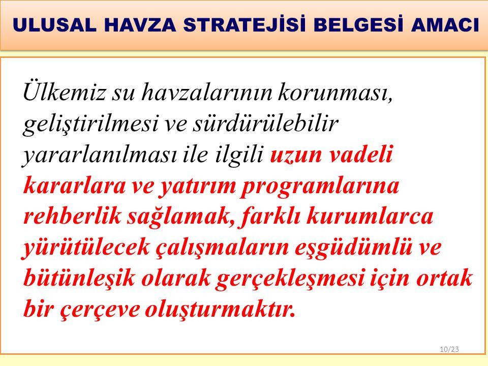 ULUSAL HAVZA STRATEJİSİ BELGESİ AMACI
