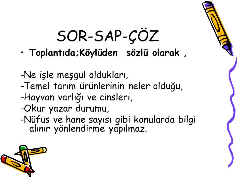 SOR-SAP-ÇÖZ Toplantıda;Köylüden sözlü olarak ,