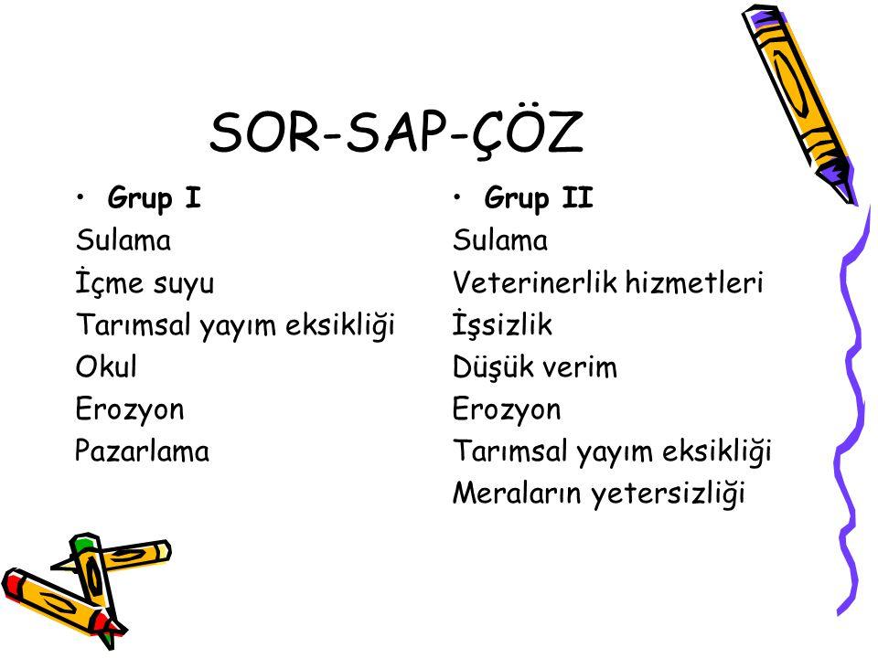 SOR-SAP-ÇÖZ Grup I Sulama İçme suyu Tarımsal yayım eksikliği Okul