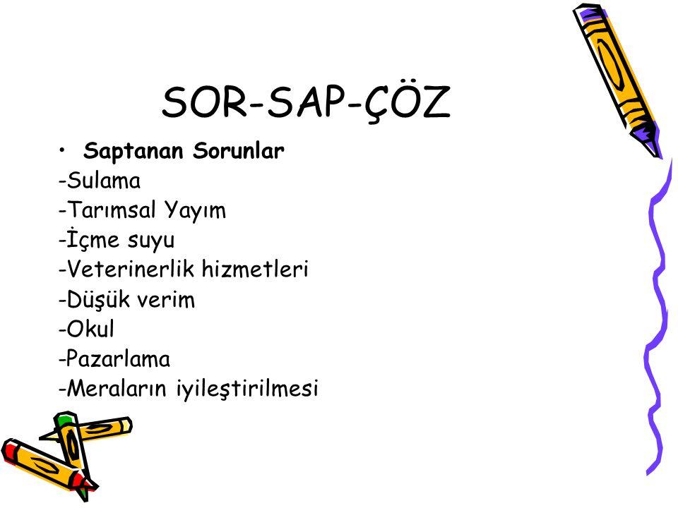 SOR-SAP-ÇÖZ Saptanan Sorunlar -Sulama -Tarımsal Yayım -İçme suyu