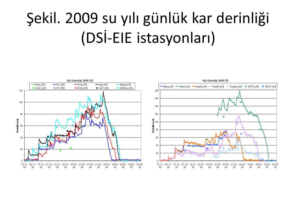 Şekil. 2009 su yılı günlük kar derinliği (DSİ-EIE istasyonları)
