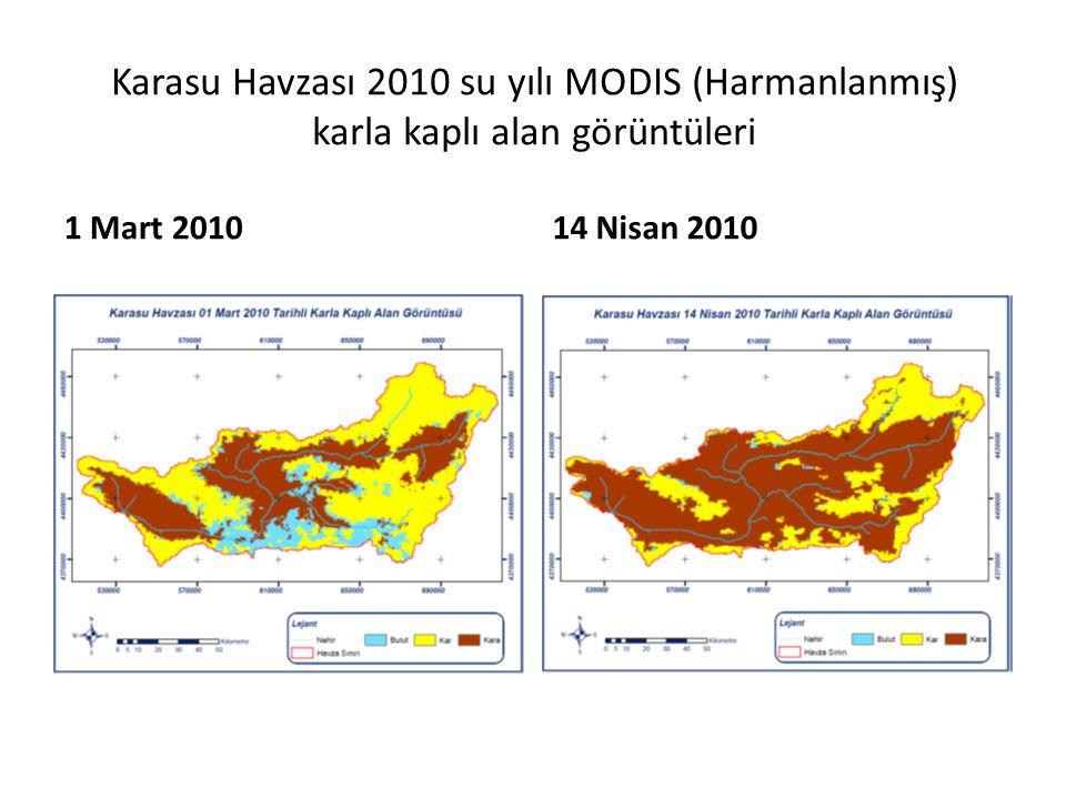 Karasu Havzası 2010 su yılı MODIS (Harmanlanmış) karla kaplı alan görüntüleri