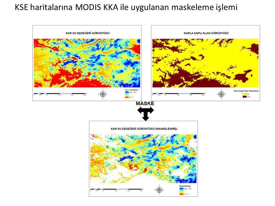 KSE haritalarına MODIS KKA ile uygulanan maskeleme işlemi