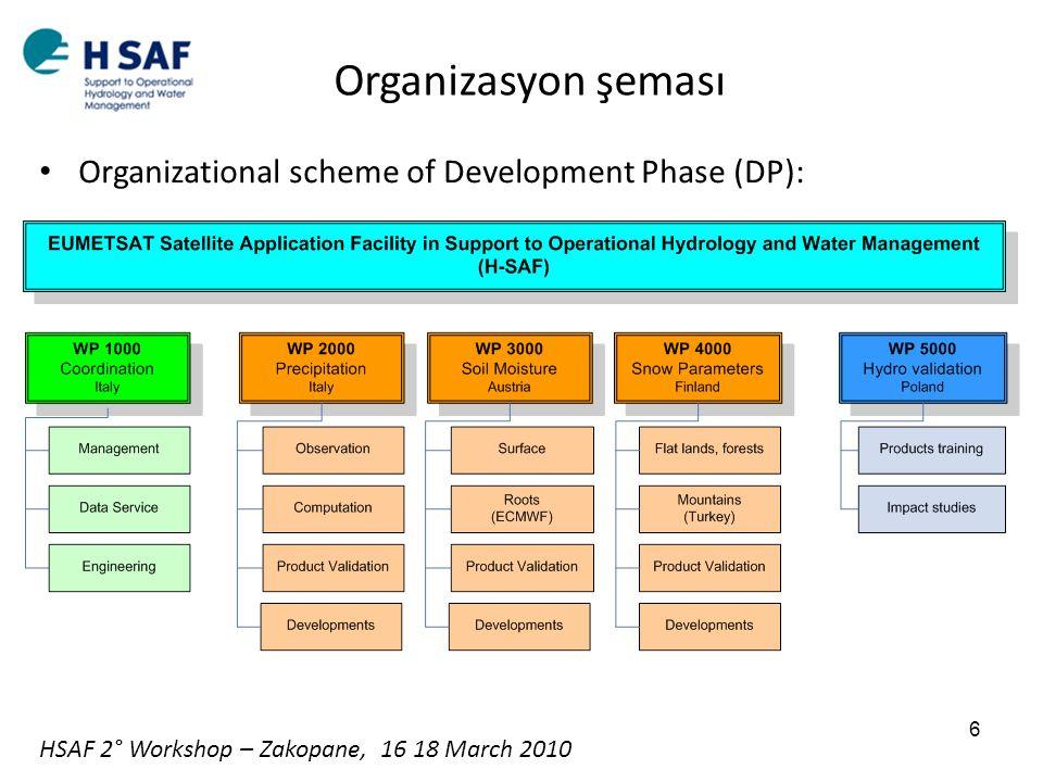 Organizasyon şeması Organizational scheme of Development Phase (DP):