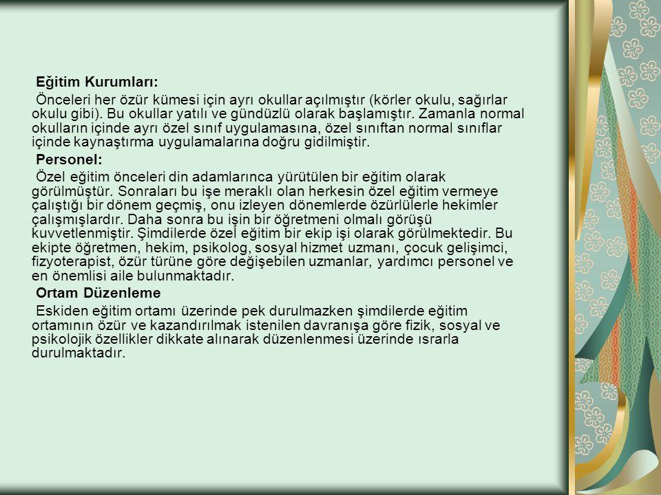 Eğitim Kurumları:
