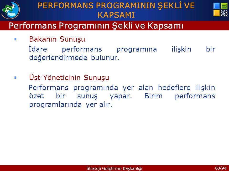 PERFORMANS PROGRAMININ ŞEKLİ VE KAPSAMI