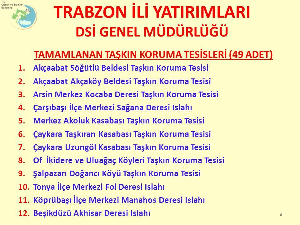 TRABZON İLİ YATIRIMLARI DSİ GENEL MÜDÜRLÜĞÜ