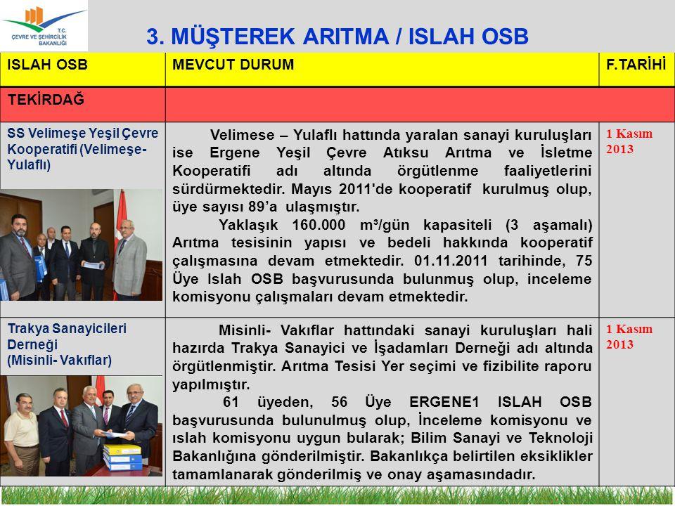 3. MÜŞTEREK ARITMA / ISLAH OSB