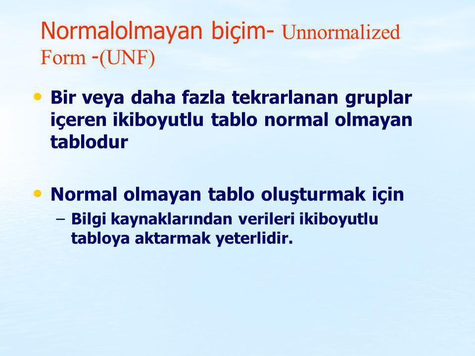 Normalolmayan biçim- Unnormalized Form -(UNF)