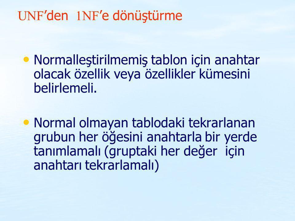 UNF'den 1NF'e dönüştürme