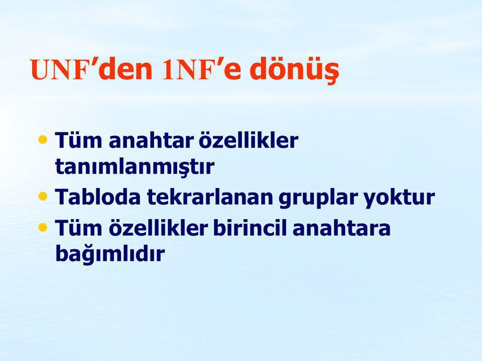 UNF'den 1NF'e dönüş Tüm anahtar özellikler tanımlanmıştır