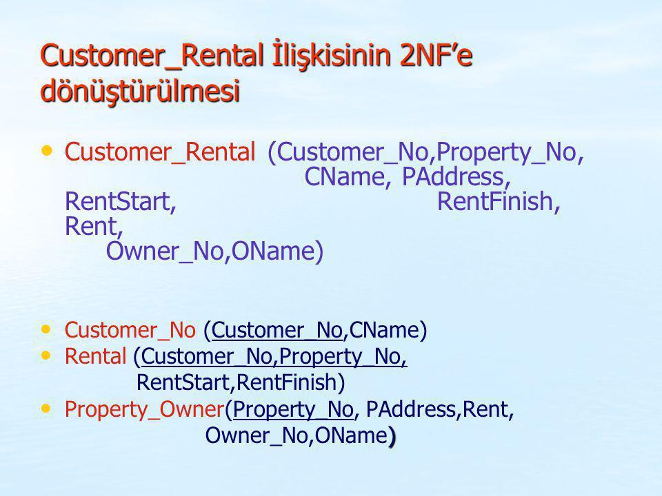 Customer_Rental İlişkisinin 2NF'e dönüştürülmesi