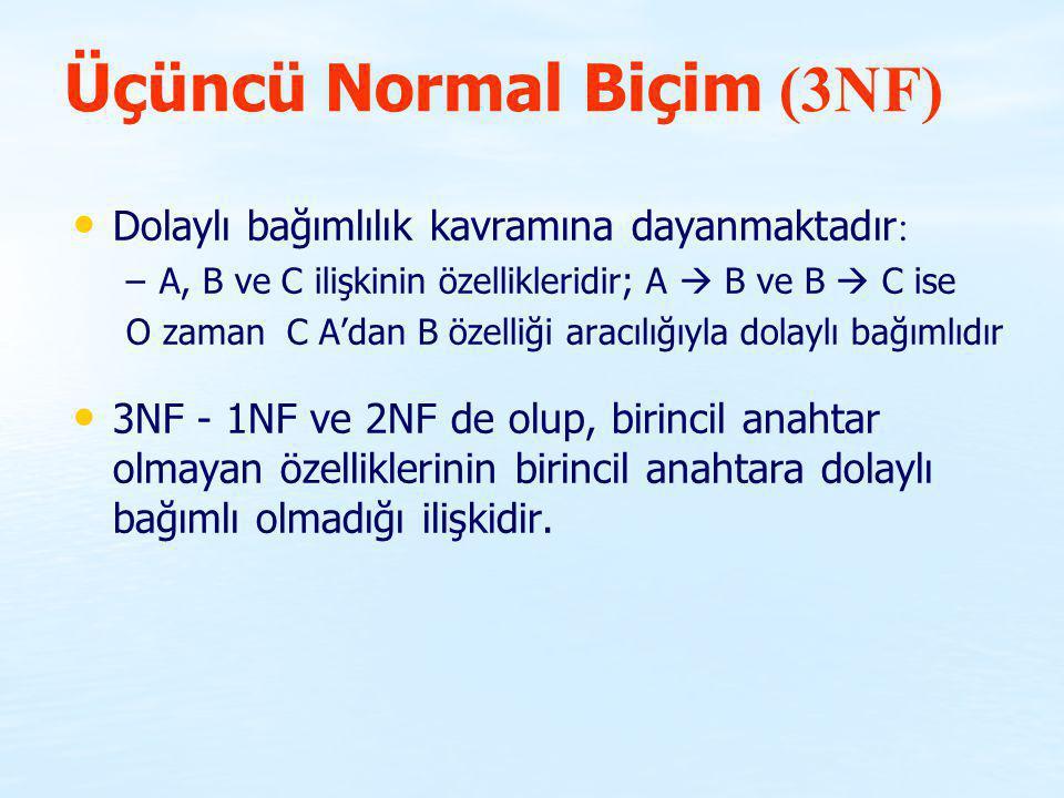Üçüncü Normal Biçim (3NF)