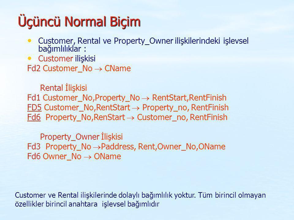 Üçüncü Normal Biçim Customer, Rental ve Property_Owner ilişkilerindeki işlevsel bağımlılıklar : Customer ilişkisi.