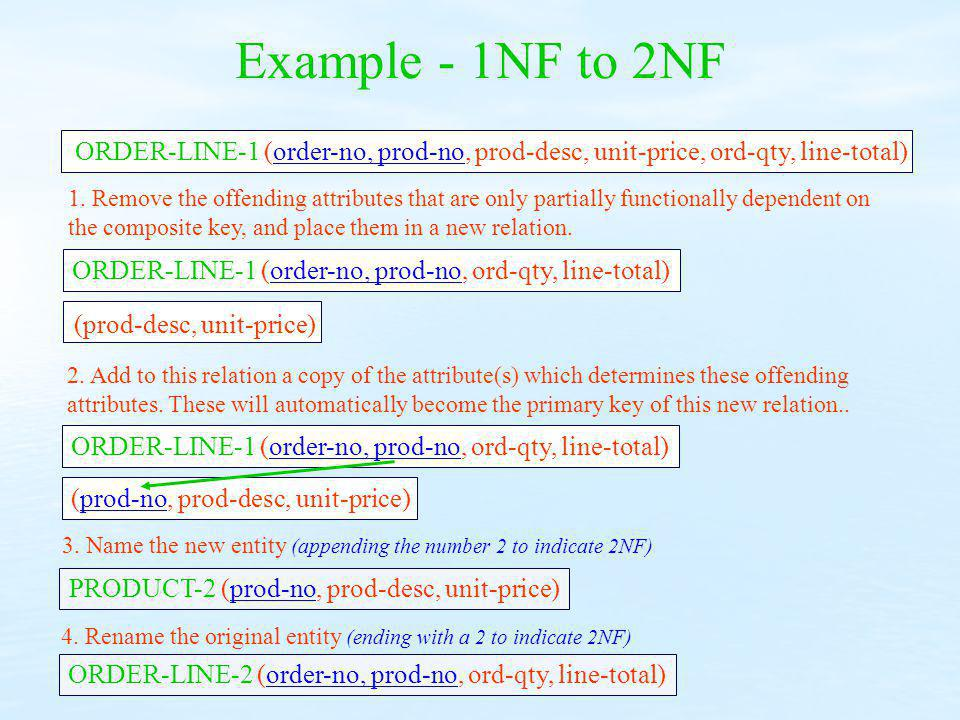 Example - 1NF to 2NF ORDER-LINE-1 (order-no, prod-no, prod-desc, unit-price, ord-qty, line-total)