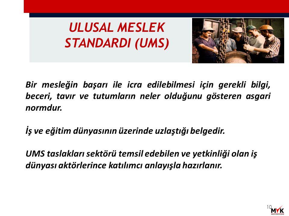 ULUSAL MESLEK STANDARDI (UMS)