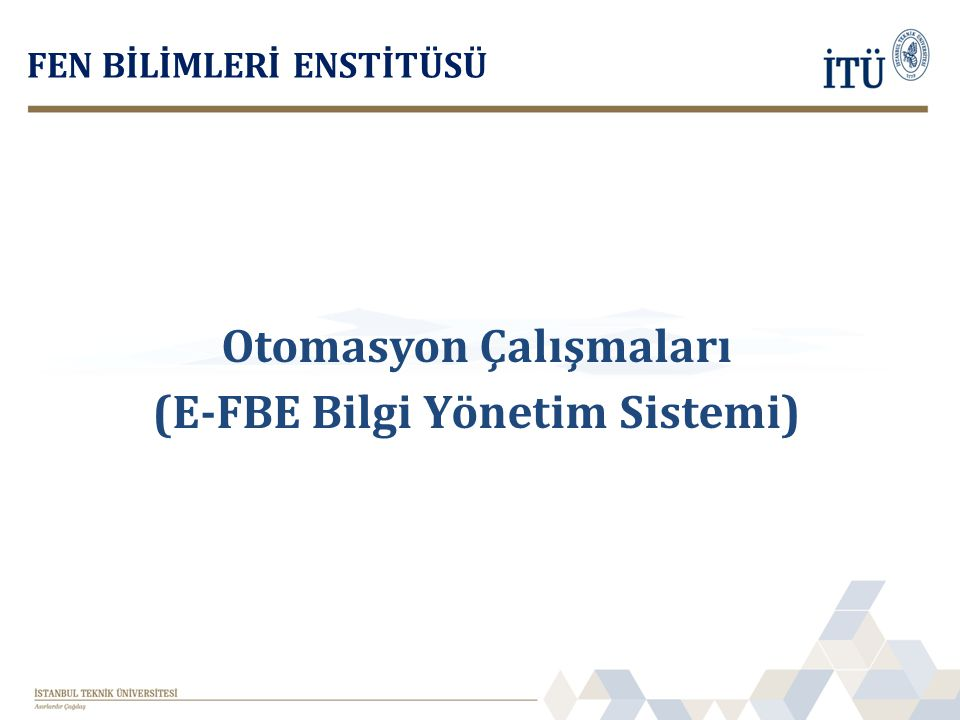 Otomasyon Çalışmaları (E-FBE Bilgi Yönetim Sistemi)
