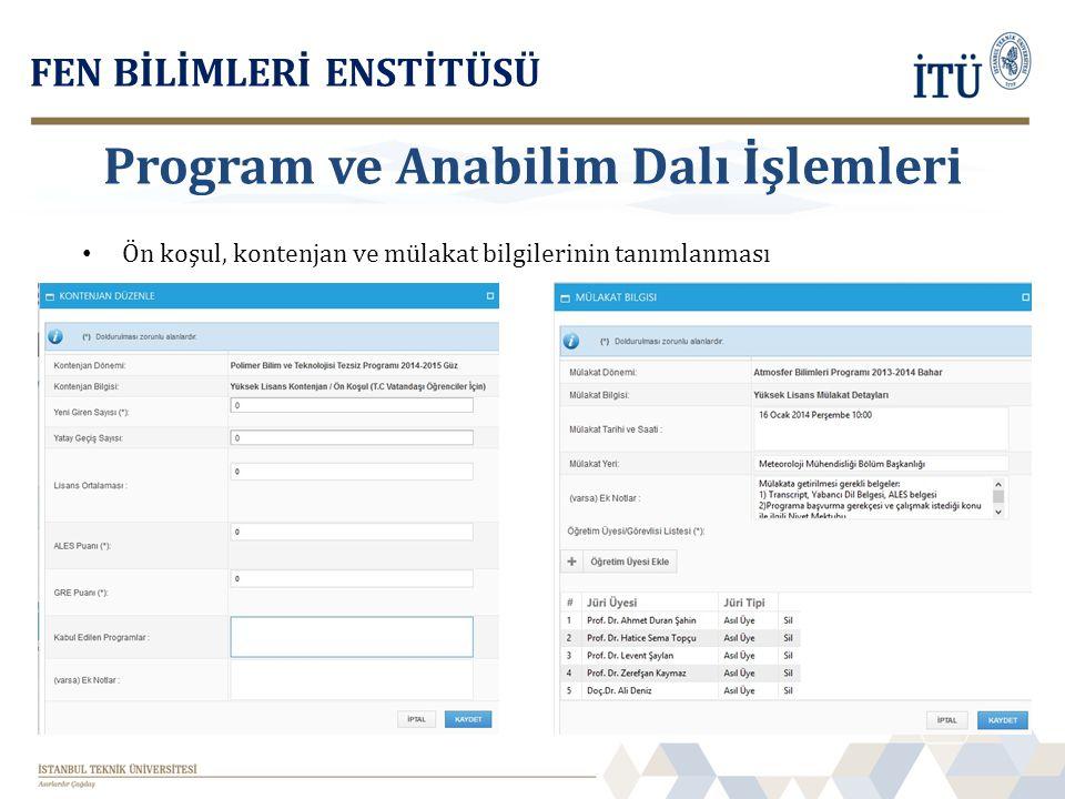 Program ve Anabilim Dalı İşlemleri