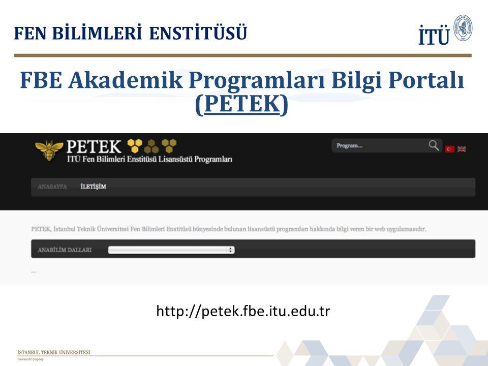 FBE Akademik Programları Bilgi Portalı (PETEK)