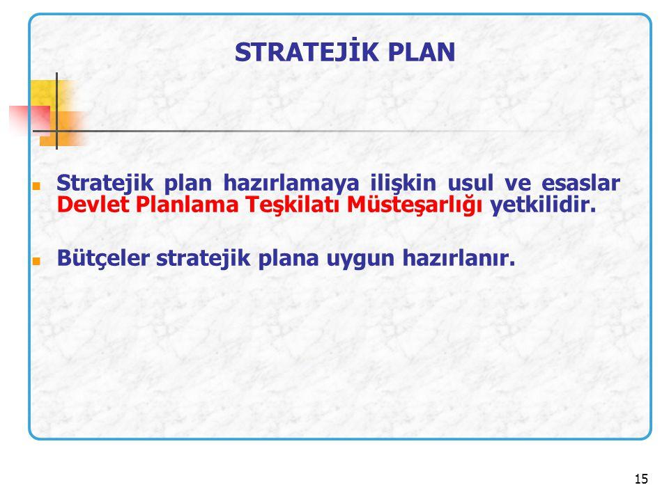 STRATEJİK PLAN Stratejik plan hazırlamaya ilişkin usul ve esaslar Devlet Planlama Teşkilatı Müsteşarlığı yetkilidir.
