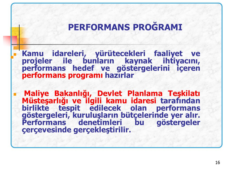 PERFORMANS PROĞRAMI