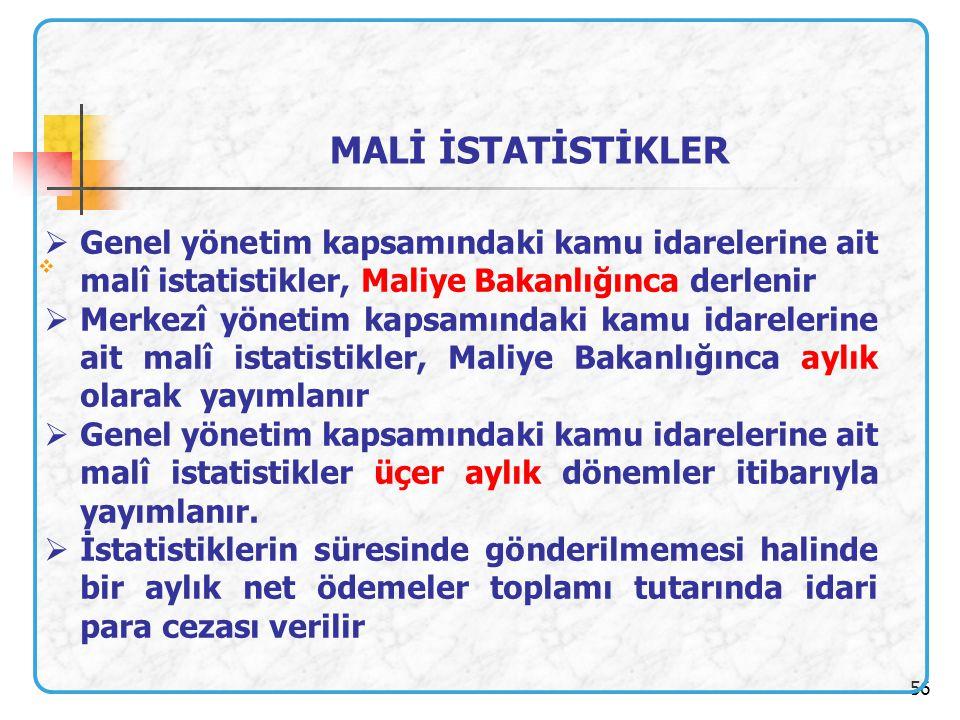 MALİ İSTATİSTİKLER Genel yönetim kapsamındaki kamu idarelerine ait malî istatistikler, Maliye Bakanlığınca derlenir.
