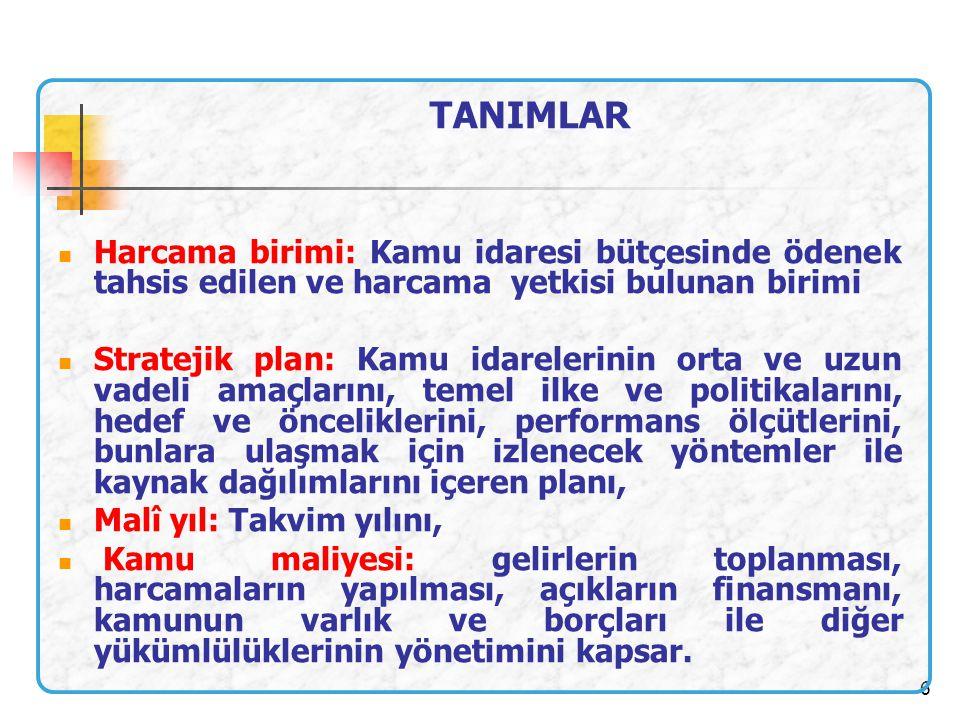 TANIMLAR Harcama birimi: Kamu idaresi bütçesinde ödenek tahsis edilen ve harcama yetkisi bulunan birimi.