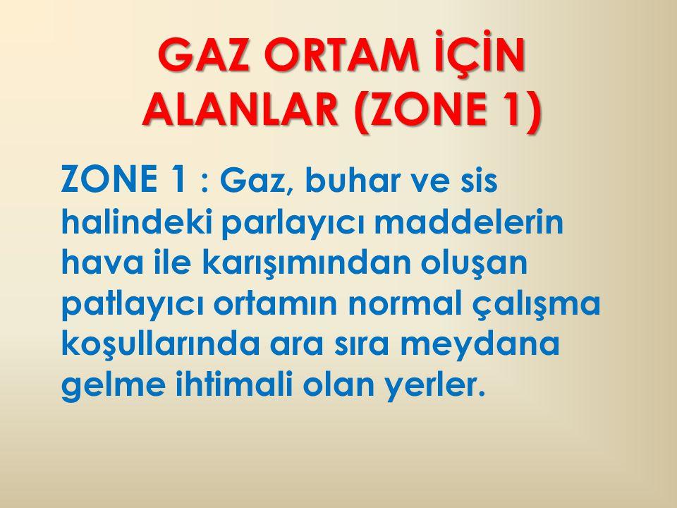 GAZ ORTAM İÇİN ALANLAR (ZONE 1)