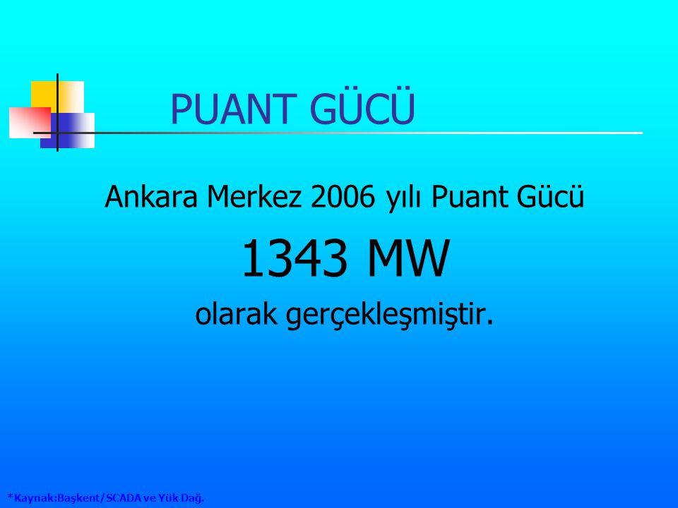 1343 MW PUANT GÜCÜ Ankara Merkez 2006 yılı Puant Gücü