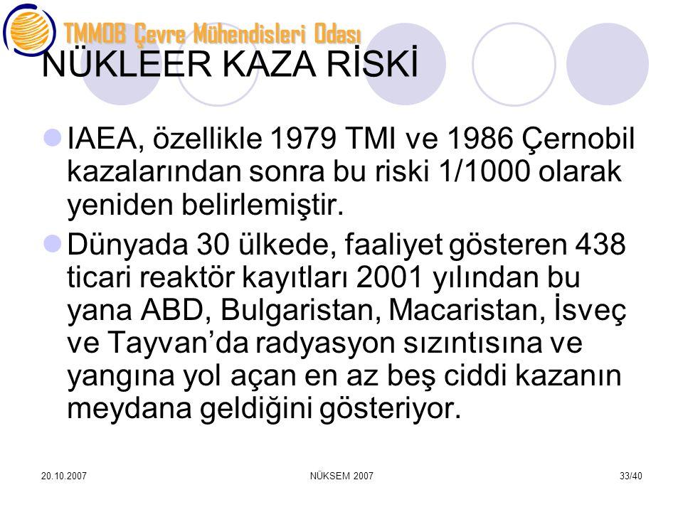 NÜKLEER KAZA RİSKİ IAEA, özellikle 1979 TMI ve 1986 Çernobil kazalarından sonra bu riski 1/1000 olarak yeniden belirlemiştir.