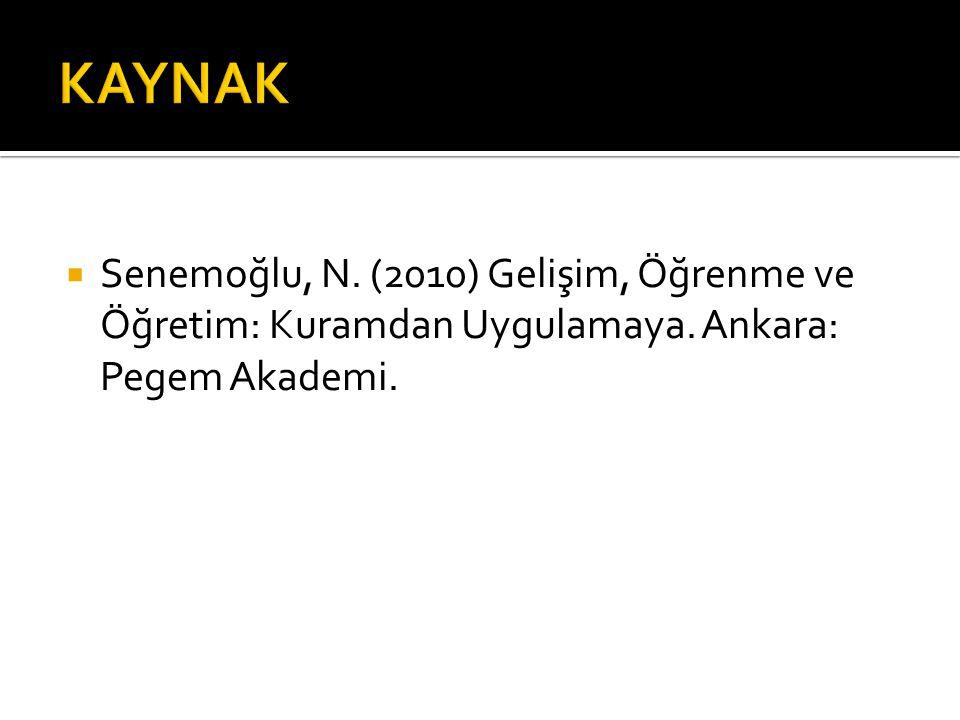 KAYNAK Senemoğlu, N. (2010) Gelişim, Öğrenme ve Öğretim: Kuramdan Uygulamaya.
