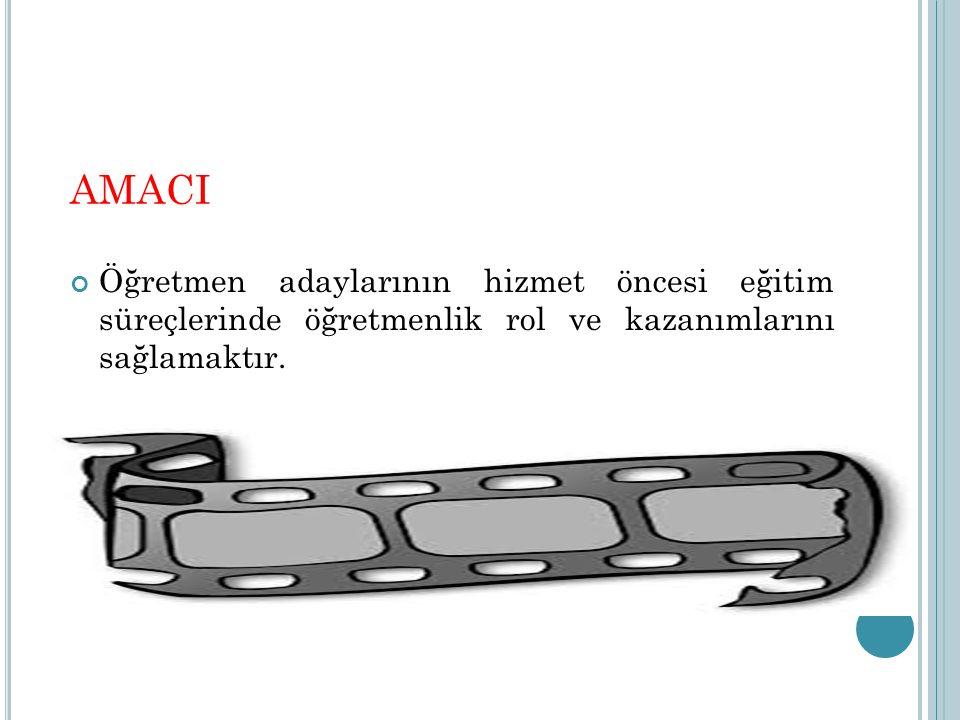 AMACI Öğretmen adaylarının hizmet öncesi eğitim süreçlerinde öğretmenlik rol ve kazanımlarını sağlamaktır.