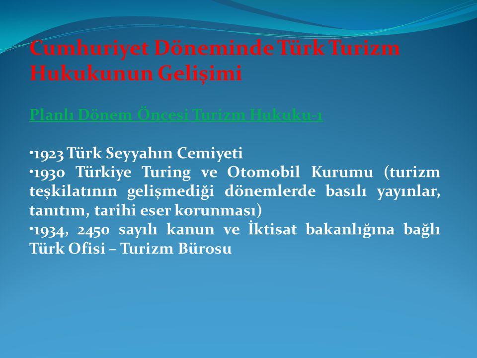 Cumhuriyet Döneminde Türk Turizm Hukukunun Gelişimi