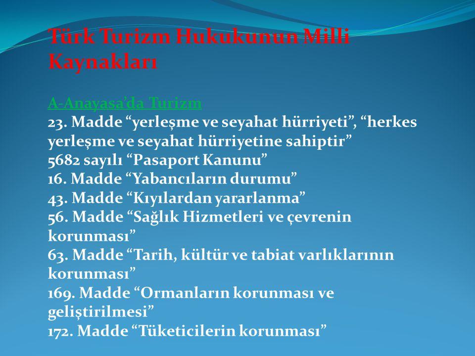 Türk Turizm Hukukunun Milli Kaynakları