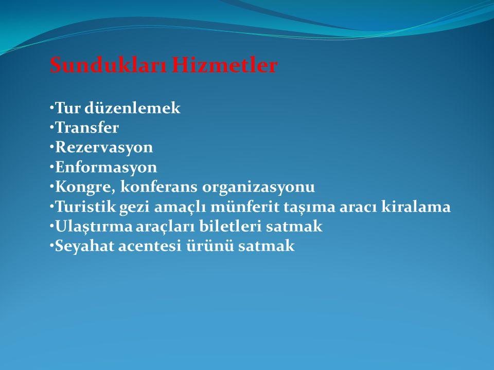 Sundukları Hizmetler •Tur düzenlemek •Transfer •Rezervasyon