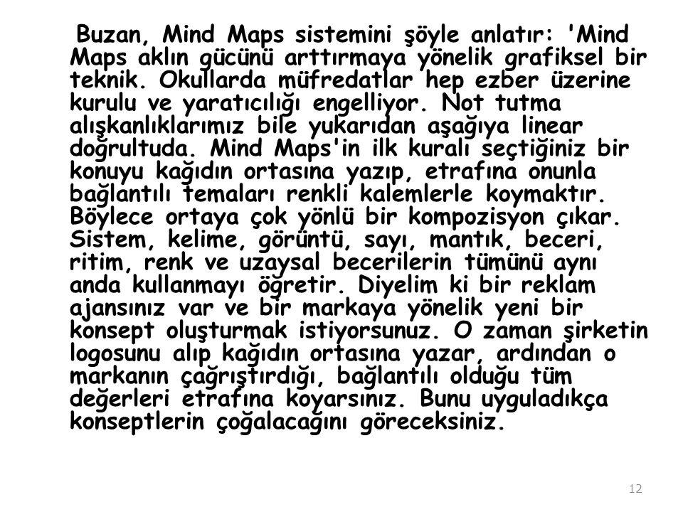 Buzan, Mind Maps sistemini şöyle anlatır: Mind Maps aklın gücünü arttırmaya yönelik grafiksel bir teknik.