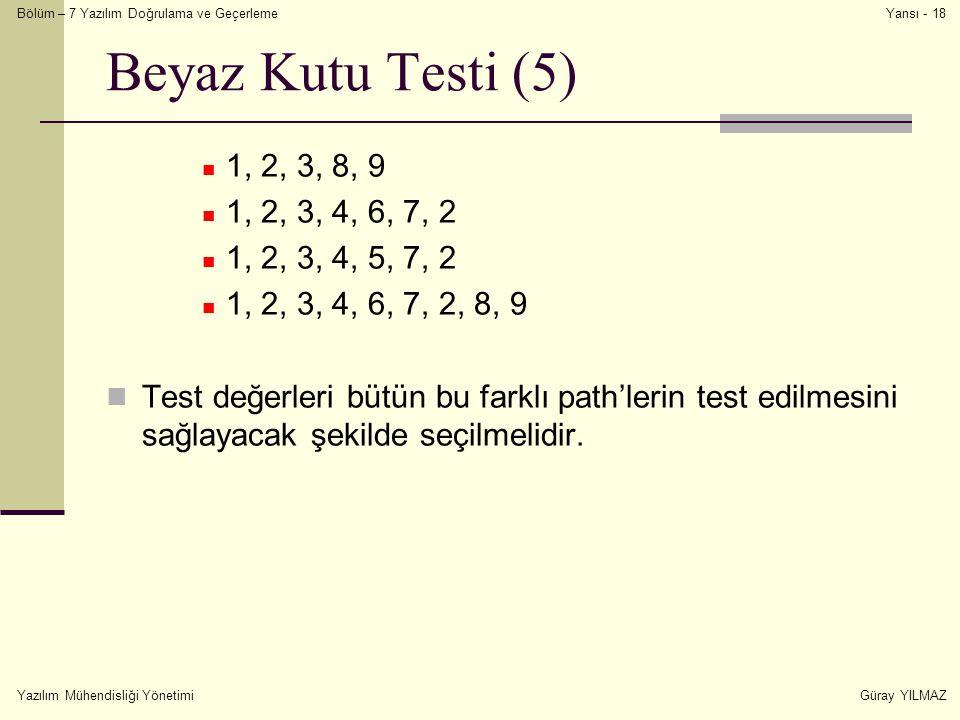 Beyaz Kutu Testi (5) 1, 2, 3, 8, 9. 1, 2, 3, 4, 6, 7, 2. 1, 2, 3, 4, 5, 7, 2. 1, 2, 3, 4, 6, 7, 2, 8, 9.