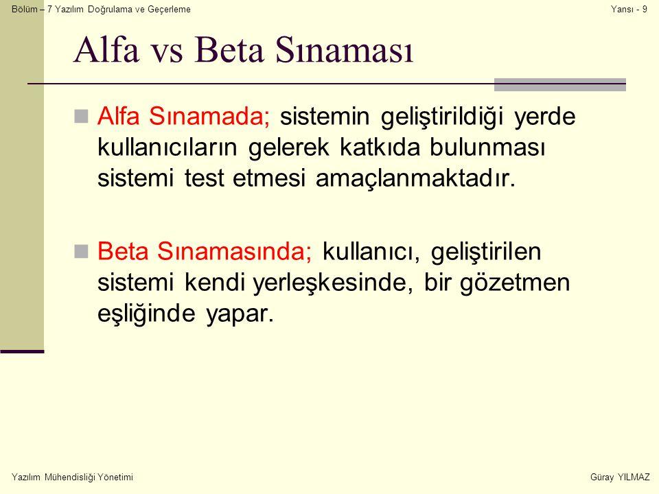 Alfa vs Beta Sınaması Alfa Sınamada; sistemin geliştirildiği yerde kullanıcıların gelerek katkıda bulunması sistemi test etmesi amaçlanmaktadır.