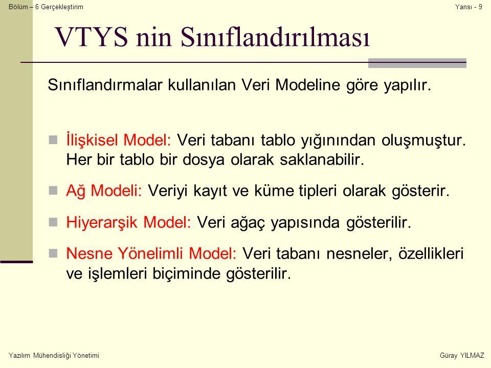 VTYS nin Sınıflandırılması