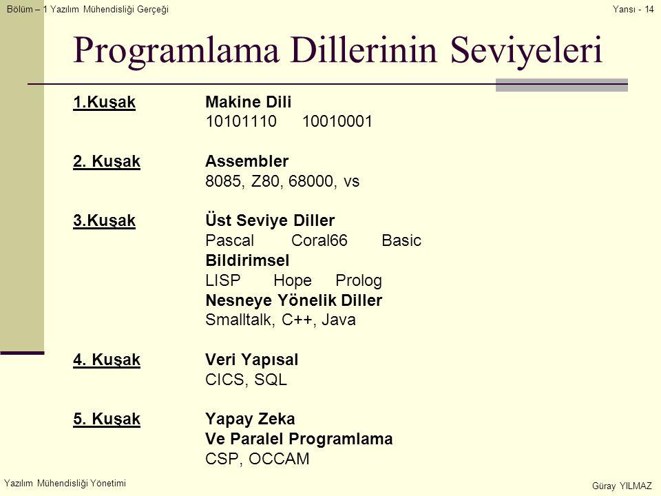 Programlama Dillerinin Seviyeleri
