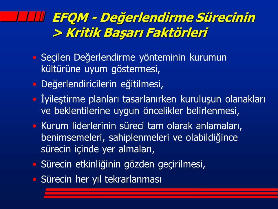 EFQM - Değerlendirme Sürecinin > Kritik Başarı Faktörleri