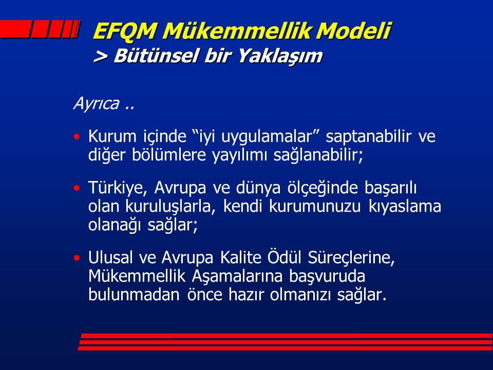 EFQM Mükemmellik Modeli > Bütünsel bir Yaklaşım