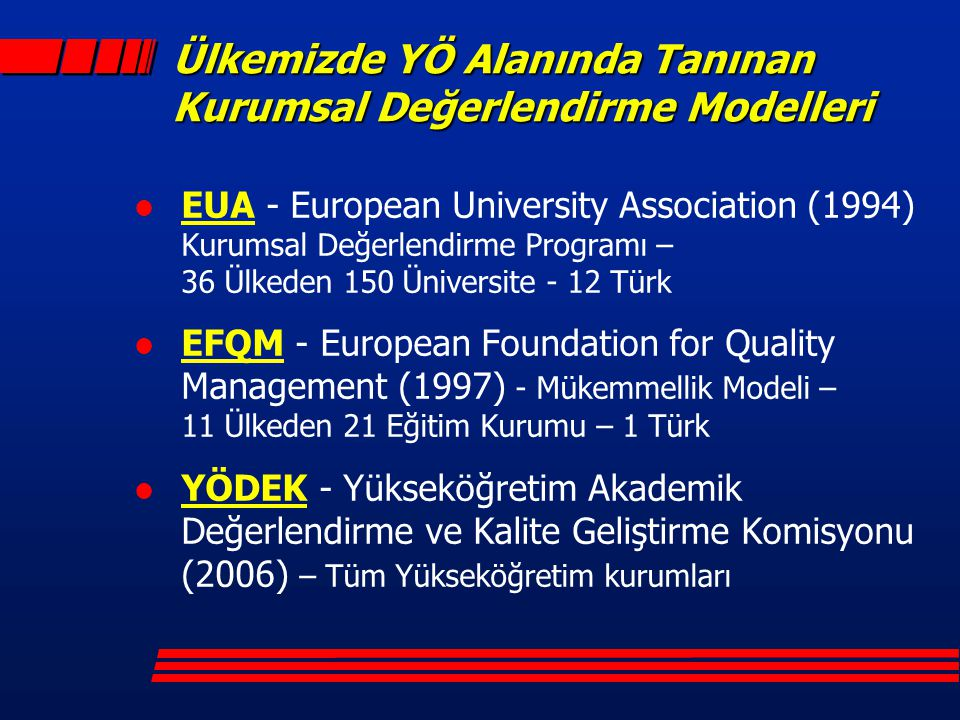 Ülkemizde YÖ Alanında Tanınan Kurumsal Değerlendirme Modelleri