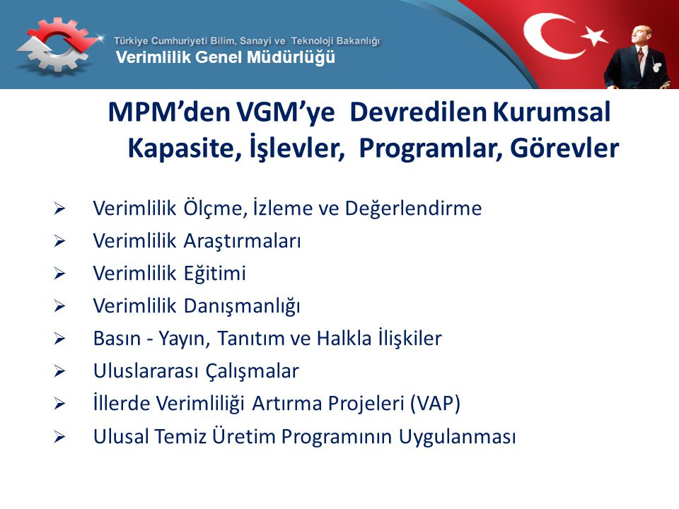 MPM'den VGM'ye Devredilen Kurumsal Kapasite, İşlevler, Programlar, Görevler