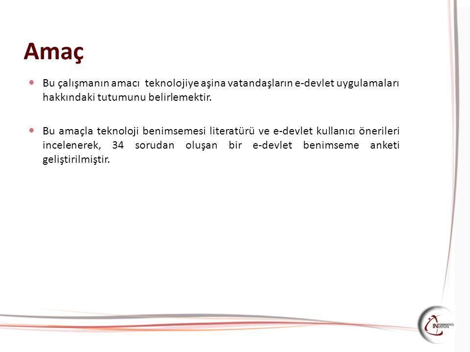 Amaç Bu çalışmanın amacı teknolojiye aşina vatandaşların e-devlet uygulamaları hakkındaki tutumunu belirlemektir.